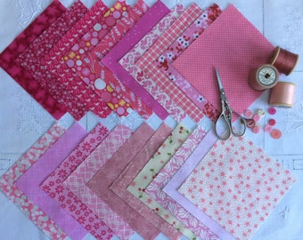 Beautiful Pinks, 20 fabric squares for patchwork.