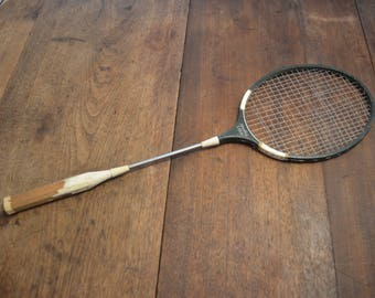 Vintage really old 1950s Spalding Court green white tennis racket