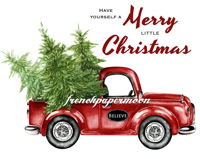 Digital Christmas Truck with Tree, Hand-Drawn Red Christmas Truck, Christmas Pillow Image, Instant Download Printable Xmas Transfer Graphic