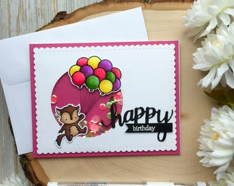 Handmade Birthday Card, Shaker Card, Toddler, Happy Birthday Card, Handmade Cards, Balloon Birthday Card, Girl, 1st Birthday Card, Shaker