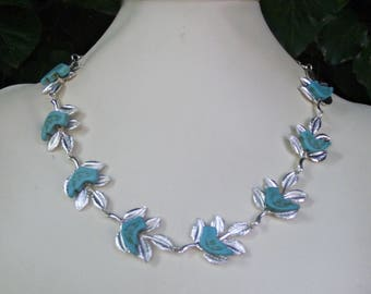 Silver Turquoise Bird Neckl;ace
