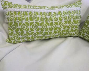 Green lumbar pillow cover with decorative fringe 16 x 24
