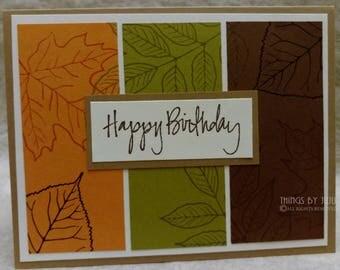 Fall Birthday Card, Stamped Fall Leaves Card, Autumn Birthday, Handmade Masculine Birthday Card, Orange Green Brown Nature Card