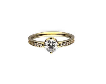 Round Halo Ring 0.80 TW Diamond Engagement Ring in 14K White Gold.