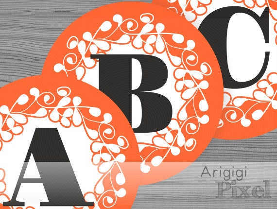 Halloween banner letters, large banner alphabet, number, orange ornate circle 6.8 in, printable PDF file, for party banner download