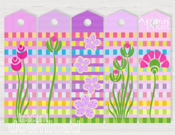 Printable Bookmarks Download - Spring Flower Graphics - Easter Bookmarkers  - Pink Purple Gift Tags - DIY Reminder