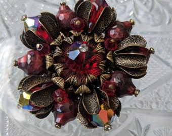 Alice Caviness Red & Metal Brooch