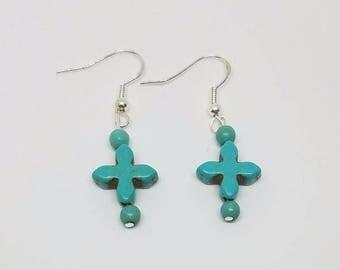 Earrings - Turquoise Cross