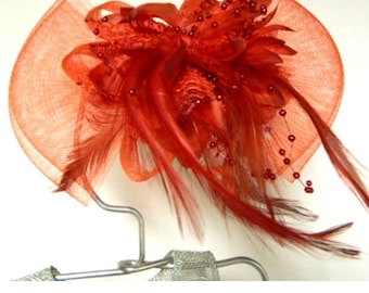 Vintage inspired red tulle bow flower fascinator feather hair clip