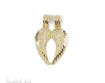 14k Yellow Gold Solid Break Apart Angel Wing Pendant Set