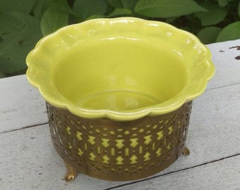 Vintage Planter, Mid Century California Pottery with Stand