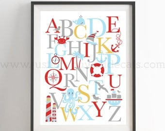 Nautical Alphabet Poster, Nautical Wall Art, Playroom Poster, Alphabet Wall Art, Alphabet Nursery Art, Alphabet Nursery, Nursery Art 22-0035