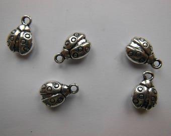 5 pendants ladybug, silver, set of 5, N1