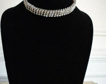 Vintage Rhinestone Silver Tone Accordion Choker Collar Necklace