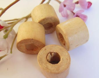 set of 4 wooden cylinder shaped beads
