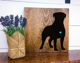 Rottweiler Silhouette Hand Painted Stained Wood Sign, Dog Decor, Gift for Dog Lover, New Puppy Gift, Dog Sign Decor, Housewarming Gift