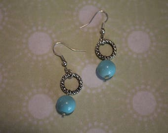 Turquoise Glass Bead Etched Silver Circle Drop Earrings