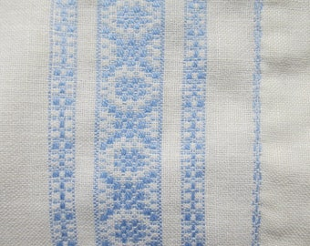 Blue Swedish huck weaving doily;