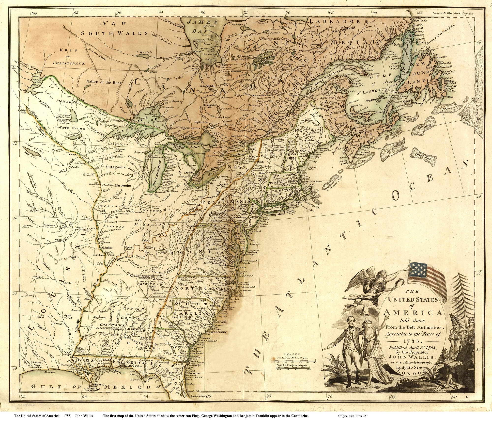 The United States Of America Map USA Reprint Wallis - Us in 1783 map