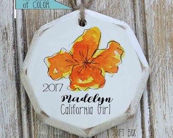 State flower ornament, custom state flower ornament, state memento gift, California memento, Christmas ornament, California ornament