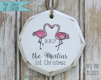 personalized pink flamingo first Christmas couple ornament, christmas ornament, gift for couple, gift exchange, wedding gift, bridal shower