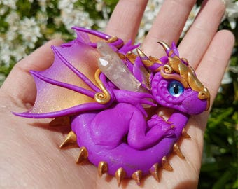 Golden and Purple Baby Dragon with Aventurine