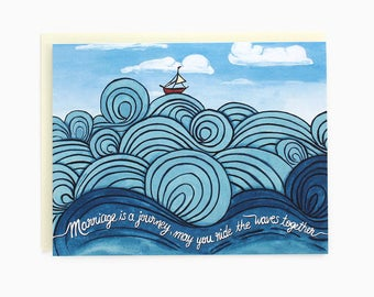 Wedding wishes - Congrats wedding card - marriage is a journey - nautical - waves - may you ride the waves together / WED-WAVES
