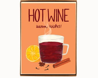Box of 8 Holiday Drink Recipe Card - Mulled Wine - Hot Wine, Warm Wishes / HLYDRINK-HOTWINE-BOX