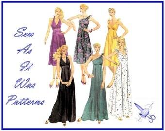 "1980s Halter Neck One Shoulder Tie Flared Maxi Dresses High Waist Surplice Bodice McCalls 7087 Vintage Sewing Pattern Size 12 Bust 34"" 87cm"