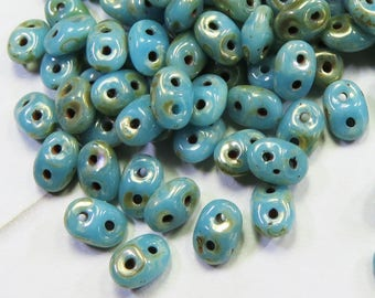 Turquoise Blue with Picasso, SuperDuo 2 Hole Seed Beads, 10 grams - Item 5171