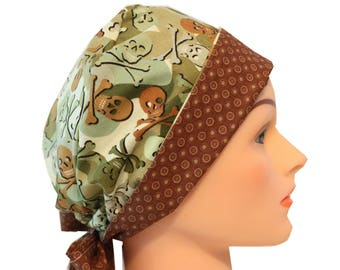 Medical Hat Surgical Scrub Cap Chemo Vet Nurse Dr Hat Front Fold Pixie Style Camo Skulls Green Brown   2nd Item Ships FREE