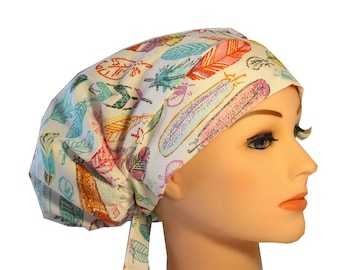 Scrub Hat Cap Chemo Bad Hair Day Hat  European BOHO Pastel Feathers 2nd Item Ships FREE