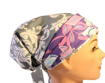 Scrub Hat Cap Chemo Bad Hair Day Hat  European BOHO Banded Pixie Tie Back Grey Damask Purple Lilac Band 2nd Item Ships FREE