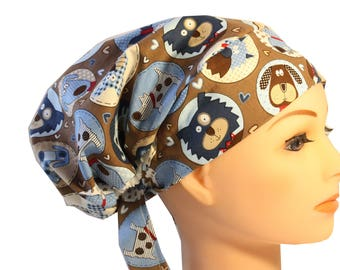 Scrub Hat Cap Chemo Bad Hair Day Hat  European BOHO Pixie Blue Brown Dogs Puppies Hearts 2nd Item Ships FREE