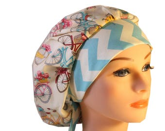 Scrub Cap Surgical Hat Chef   Dentist Hat Tie Back Bouffant Bicycles Flowers Chevron 2nd Item Ships FREE