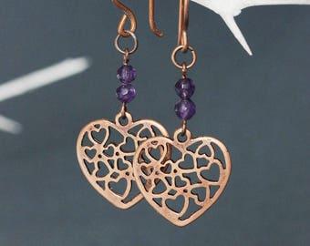 Copper Heart Earrings Copper Boho Earrings Dangle Copper Amethyst Earrings Copper Earrings Amethyst Earrings Heart Earring Copper Amethyst