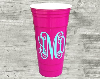 Monogrammed RED 32 oz party cup red BPA Free large
