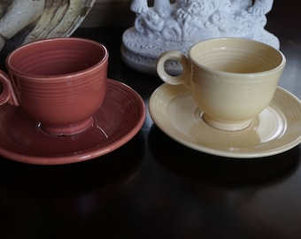 FREE SHIPPING, Vintage, Set of Two Fiesta Coffee Cup and Saucer Sets