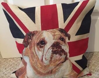 Bull dog tapestry cushion