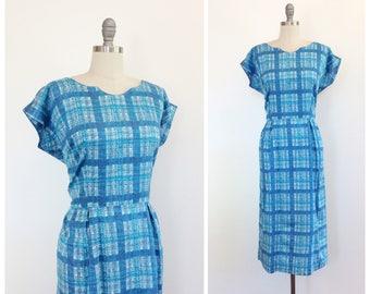 60s Blue Plaid Cotton Day Dress / 1960s Vintage Summer Dress / Large / Size 12