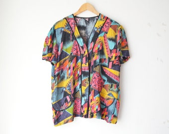 abstract print oversized button down blouse 80s // L