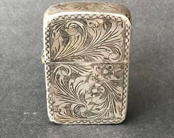 Vintage 800 Silver ZIPPO Lighter - Pat. 2519191, c.1955 - 1965