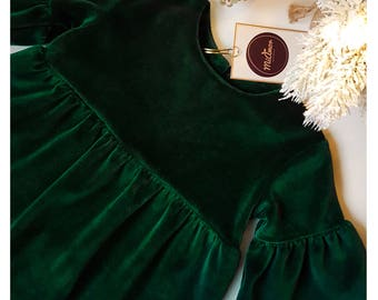 Baby Velour Dress - Emerald Velvet Dress - Baby Christmas Dress - Baby Holiday Dress - Emerald Holiday Dress - Velvet Dress