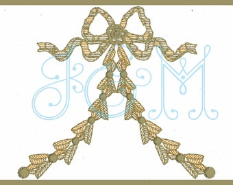 Motif Fill Hollywood Regency Chinoiserie Brass Bow Machine Embroidery Design 4x4