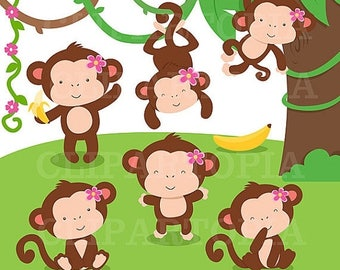 50% OFF SALE Monkey Girl Digital Clipart / Cute Monkey Girls Clip art For Personal and Commercial Use