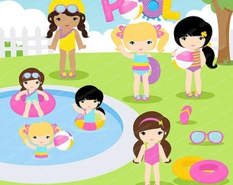 50% OFF SALE GIRLS Pool Party Clipart,  Pool party clipart , Swim Girls Digital Clipart Set, Summer girls clip art, for personal and commerc