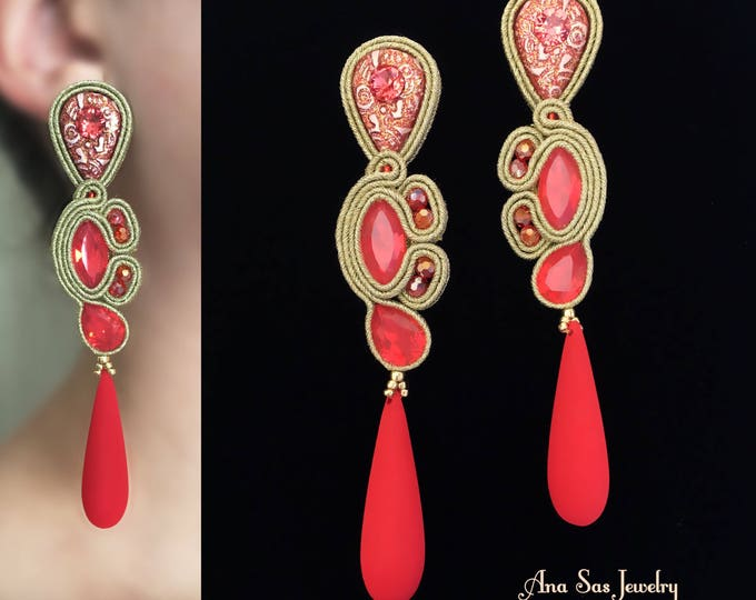 Statement gold and red soutache earrings