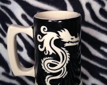 Black Chinese Dragon Beer Stein Coffee Cup Mug Tattoo Pottery Ceramics OHIO USA Hand Made Handmade