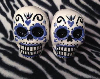 Set of 2 Large Day of the Dead Sugar Skull Statues Handmade Hand Made OHIO USA Ceramic Pottery Tattoo