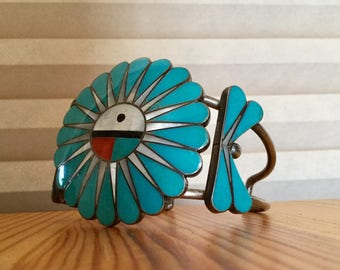 Vintage Signed Zuni Old Pawn Chanel Inlay Sterling Silver Turquoise Hachina Cuff Bracelet